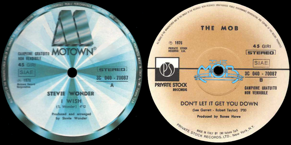 STEVIE WONDER: I Wish / THE MOB: Don't Let It Get You Down | 3C 040 - 70087