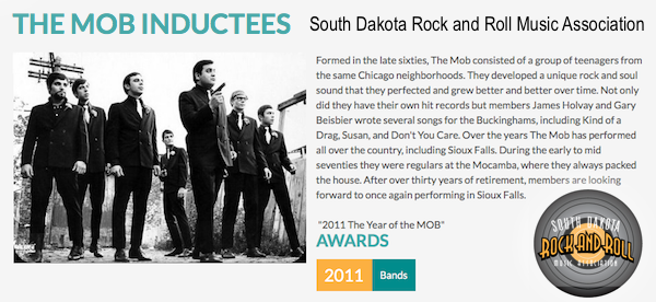 THE MOB 2011 South Dakota Rock and Roll Music Association Hall of Fame inductee